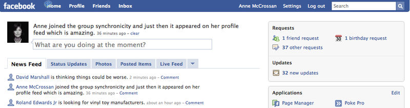 Synchronicity and facebook